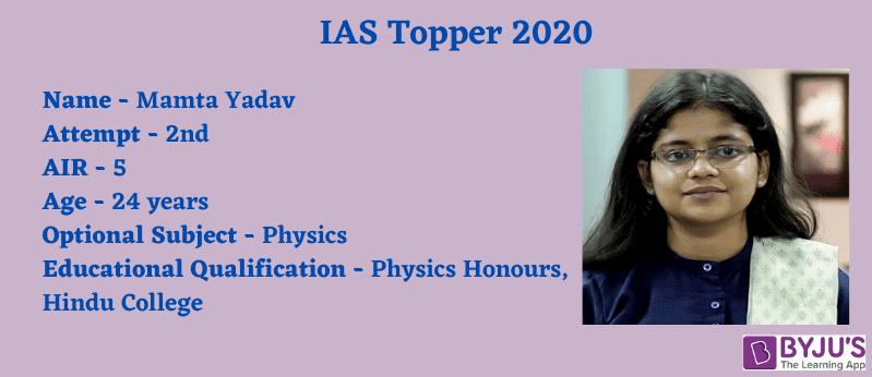 IAS Topper 2020 - Mamta Yadav [AIR 5]