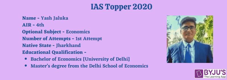 Yash Jaluka - IAS Topper 2020 [AIR 4]