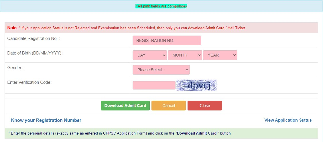 Details for Downloading Admit Card