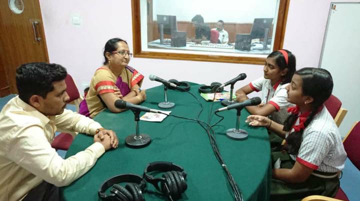 Ranjita at a radio interview in Kalaburagi about her project