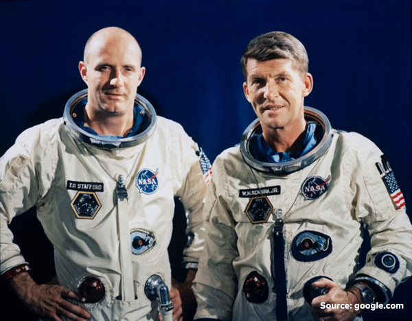 Astronauts Thomas P Stafford (left) and Walter M Schirra Jr (right) before takeoff