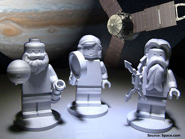 LEGO figurines representing the Roman god Jupiter (right), his wife Juno (middle) and Galileo Galilei joined NASA's Juno spacecraft that flew to explore the Jupiter