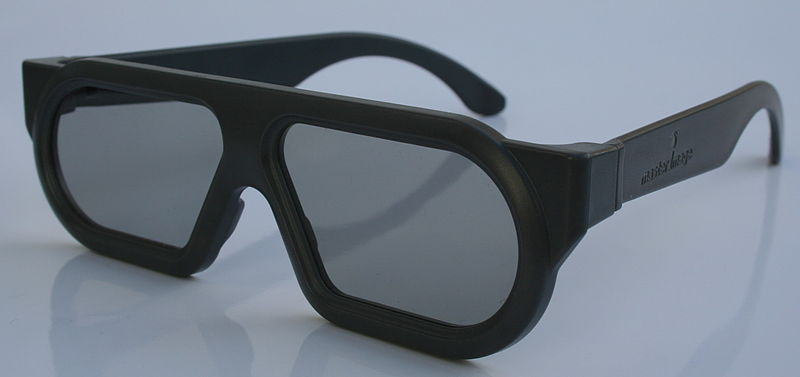 Polarised 3D glasses that are today commonly used in movie theaters. Image source: Wikimedia Commons